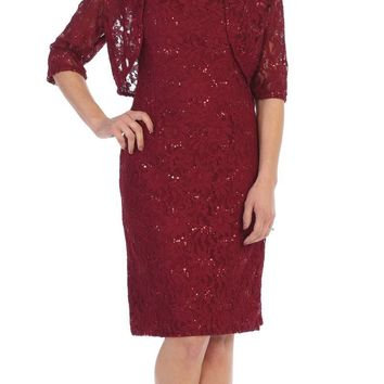 Modest Burgundy Short Lace Dress With Matching Bolero Jacket