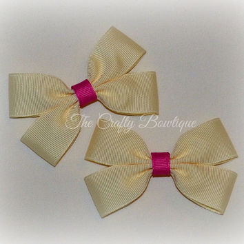 Ivory Cream Bow ~ Ivory Cream Clippies ~ Small Ivory Bow ~ Small Cream Bow ~ Ivory Hair Clips ~ Pink & Ivory Bow ~ Purple and Ivory Bow