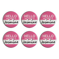 Jasmine Hello My Name Is Plastic Resin Button Set of 6