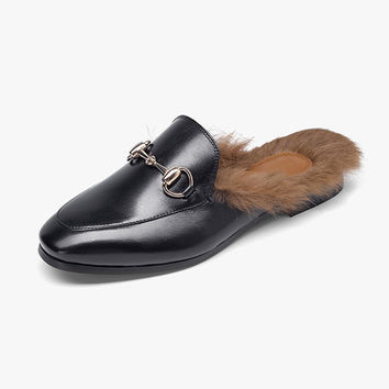 Leather Mules Fur Slips