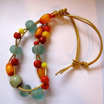 Necklace-African glass,stone,resin, metal beaded.- modern jewelry