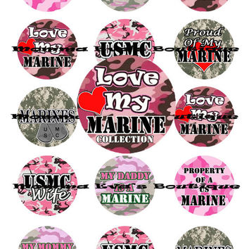 Momma Eva's -- Love My Marine Inspired Collection / 4 x 6  / 1 in Circles /  Bottle Caps Scrapbooking Hair Bows