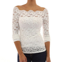 Women Shirts Fashion Long Sleeve White Lace Blouse Off Shoulder = 1932035780
