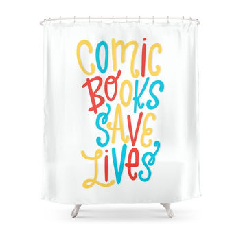 Society6 Comic Books Save Lives Shower Curtains