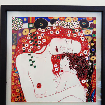 "Mother and child art 15""x15"" Klimt enspiration  Fragment Glass painting Glass art"