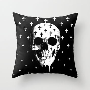 After Market, gothic skull Throw Pillow by Kristy Patterson Design