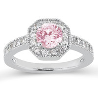 Round pink & white halo diamonds 3.91 carats anniversary ring gold 14K