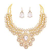 White Crystal Gold Bib Necklace With Earring