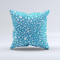 Light Blue & White Floral Sprout Ink-Fuzed Decorative Throw Pillow