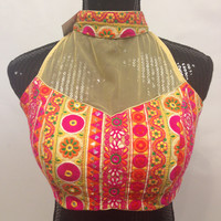 Halter Blouse - Gold & Multicolor