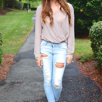 Double Cross crop top, taupe