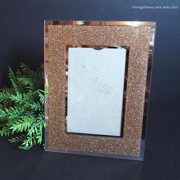 Gold Glitter / Mirror Glass Picture Frame, Gold Sparkle Photo Frame, 4x6 Inch