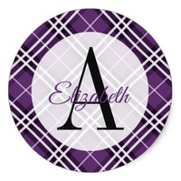 Purple and Black Plaid Monogrammed Classic Round Sticker