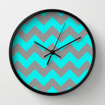 Chevron Turquoise Wall Clock by Alice Gosling