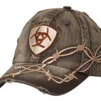 Ariat Logo Patch Barbwire Brown Cap