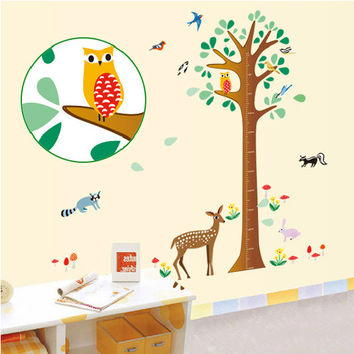 50% OFF - Growth Chart Decal Forest Decal Children Height Measure Deer Birds Flowers Wall Graphic Vinyl Decal Decor Animal Nature Tree Decal