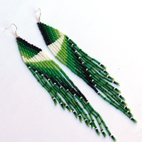 Native American Beaded Earrings inspired. Extra Long Earrings. Fringe Earrings. Beadwork