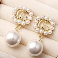 GUCCI Fashion New More Pearl Long Earring Personality Accessories Women