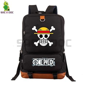 Anime Backpack School kawaii cute One Piece Monkey D. Luffy Canvas Backpack Women Men Travel Rucksack School Bags Boys Girls Large Capacity Laptop Backpack AT_60_4