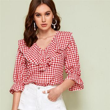 Red V Neck Ruffle Trim Gingham Casual Blouse Top Women Flounce Sleeve Cute Ladies Blouses And Tops