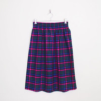 Black Pink Plaid Skirt Plaid Midi Skirt Plaid Flannel Skirt Tartan Skirt 80s High Waist Skirt 80s Skirt 90s Skirt 90s Grunge Skirt L Large