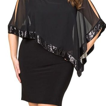 Black Sequined Mesh Overlay Poncho Plus Size Dress