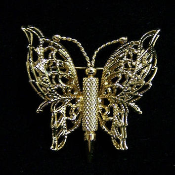 Monet Butterfly Pin, Open Work Wings, Gold Tone Setting,  Figural Insect Brooch, Vintage Jewelry  917