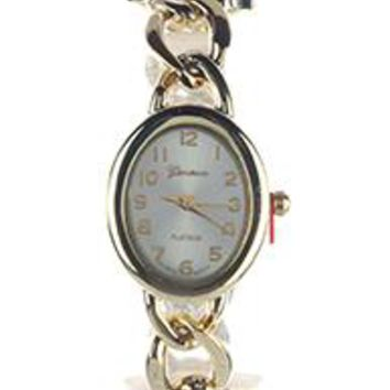 Geneva Oval Face Metal Link Band Fashion Watch