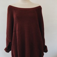 ARDEN OVERSIZED SWEATER- BRICK