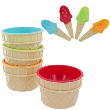 Ice Cream Bowls & Matching Spoons Set ( Case of 16 )