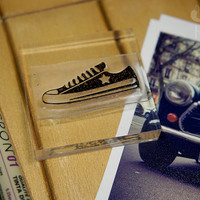 Hipster Sneakers Rubber Stamp. Sneakers Rubber Stamp - 2x2 Inches