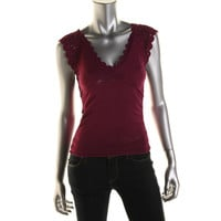 Catherine Malandrino Womens Crochet Trim Ruched Knit Top