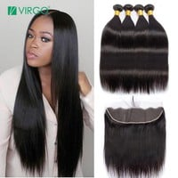 Virgo Brazilian Straight Hair Bundles With Frontal 3 Bundle Human Hair Weave Non Remy 4 Ps/Lot Lace Frontal Closure With Bundles