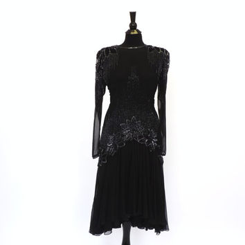 Vintage 80s does 20s Para Black Sequin Beaded Rayon Dress Drop Waist Cocktail Avante Garde Party Dress New Years Eve Flapper 1920s style