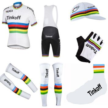 Pro team tinkoff champion 7PCS full set cycling jersey Short sleeve quickdry bike clothing MTB Ropa Ciclismo Bicycle maillot GEL