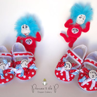 Dr. Seuss Thing 1 Thing 2 Inspired Baby Shoes 2 pairs for twins, siblings - 1st Birthday, Photo Prop, dr. seuss baby shower, cat in the hat
