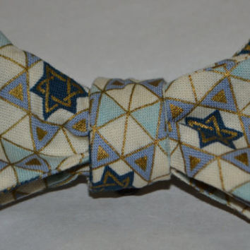 Star of David Bowtie, front clip, toddler size, cotton, handmade, FREE Shipping USA