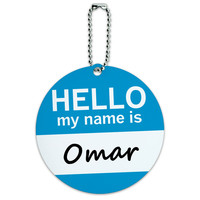 Omar Hello My Name Is Round ID Card Luggage Tag