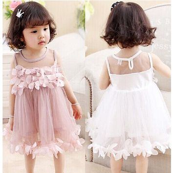 Flower Kids Baby Girl Clothing Dress Princess Sleeveless Ruffles Tutu Ball Petal Tulle Party Formal Cute Dresses Girls