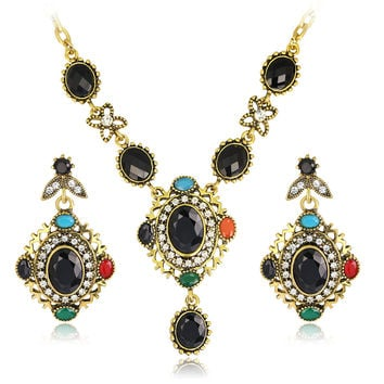 Fashion Vintage Antique Gold Color Jewelry Set High Quality  Austrian Crystal Pendant Necklace and Earrings Wedding Jewelry Set