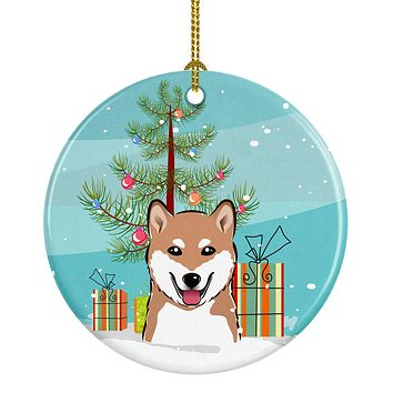 Christmas Tree and Shiba Inu Ceramic Ornament BB1597CO1