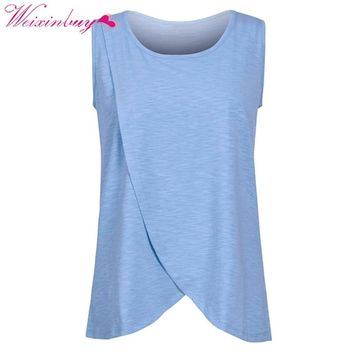 Maternity Nursing Tops Pregnancy Breast-feeding T-Shirts Maternity Nursing Tops Cotton Breastfeeding Clothes Green Home Summer