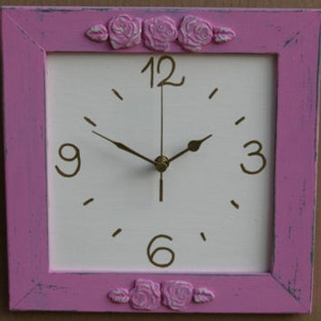 Dark Pink & Cream Shabby Chic Wall Clock