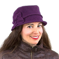 Boiled Wool Cloche Hat with Large Flower