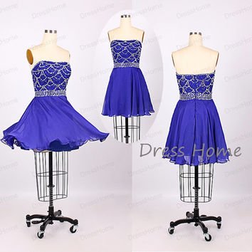 Royal Blue Strapless Beading Knee Length Short Homecoming Dress/Sexy Mini Party Dress/Prom Dress/Cocktail Dress DH199