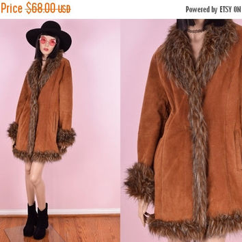 SUMMER SALE 90s Suede Faux Fur Trim Coat