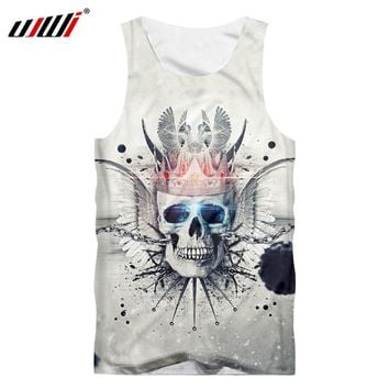 crown skull blue eyes men's T-shirt 3D printing O collar fashion casual sleeveless white Tank Tops