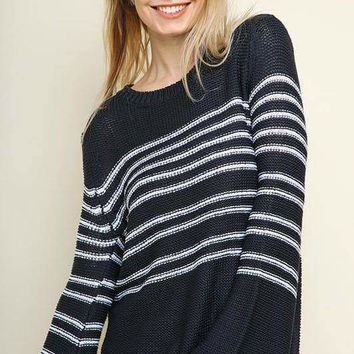 Striped Knit Pullover Sweater - Navy