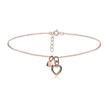 Rose Gold Tone over Sterling Silver Double Heart Chain Anklet