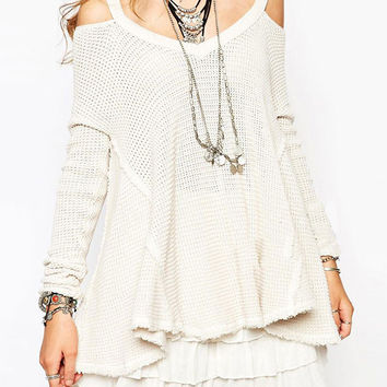 White Cold Shoulder Long Sleeve Knit Layered Dress
